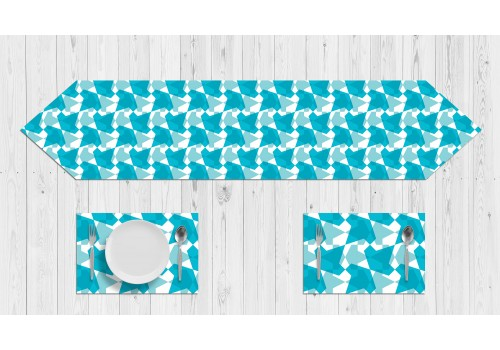 Blue Modern Geometric Table Set