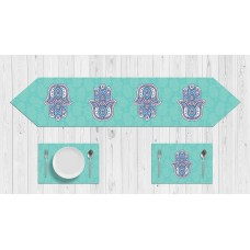 Green and purble Hands pattern Table Set