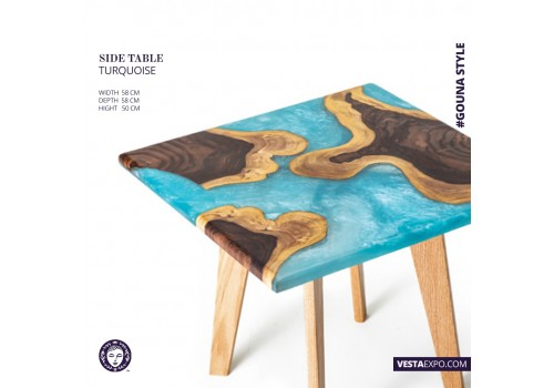 TURQUOISE RESIN SIDE TABLE