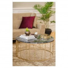 Orb Coffee Table  Gold with Marble Top